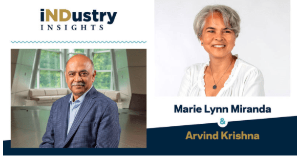 Arvind Krishna, CEO of IBM, speaks with Marie Lynn Miranda, the Charles and Jill Fischer Provost